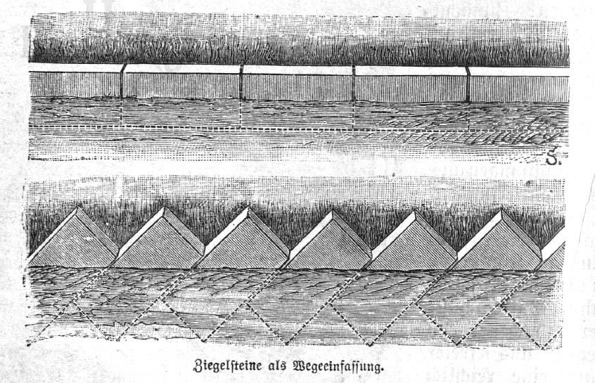 Beet bauen mit Ziegelsteinen