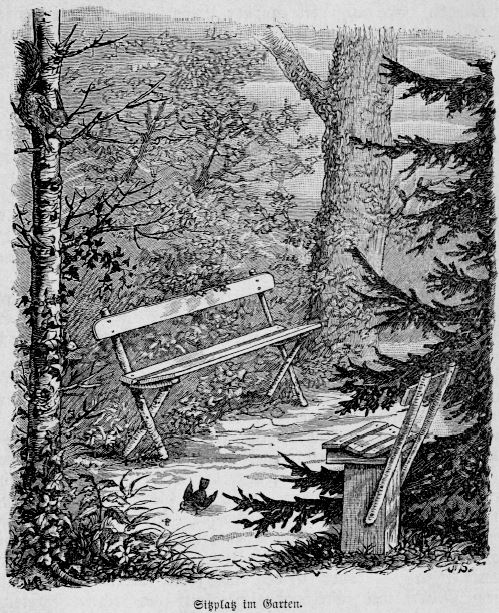 Sitzplatz im Garten am Wohnhaus