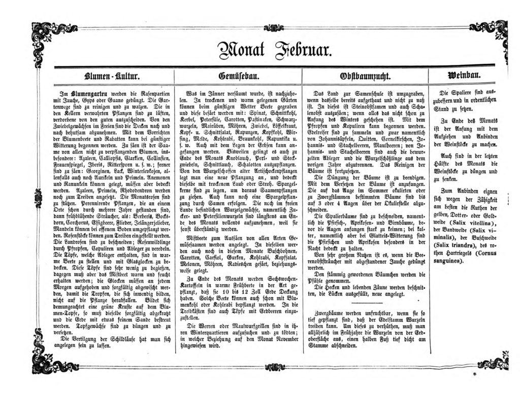 Gartenkalender für den Monat Februar von Carl Umlauff 1862 bestehend aus Blumenkultur, Gemüsebau, Obstbau und Weinbau