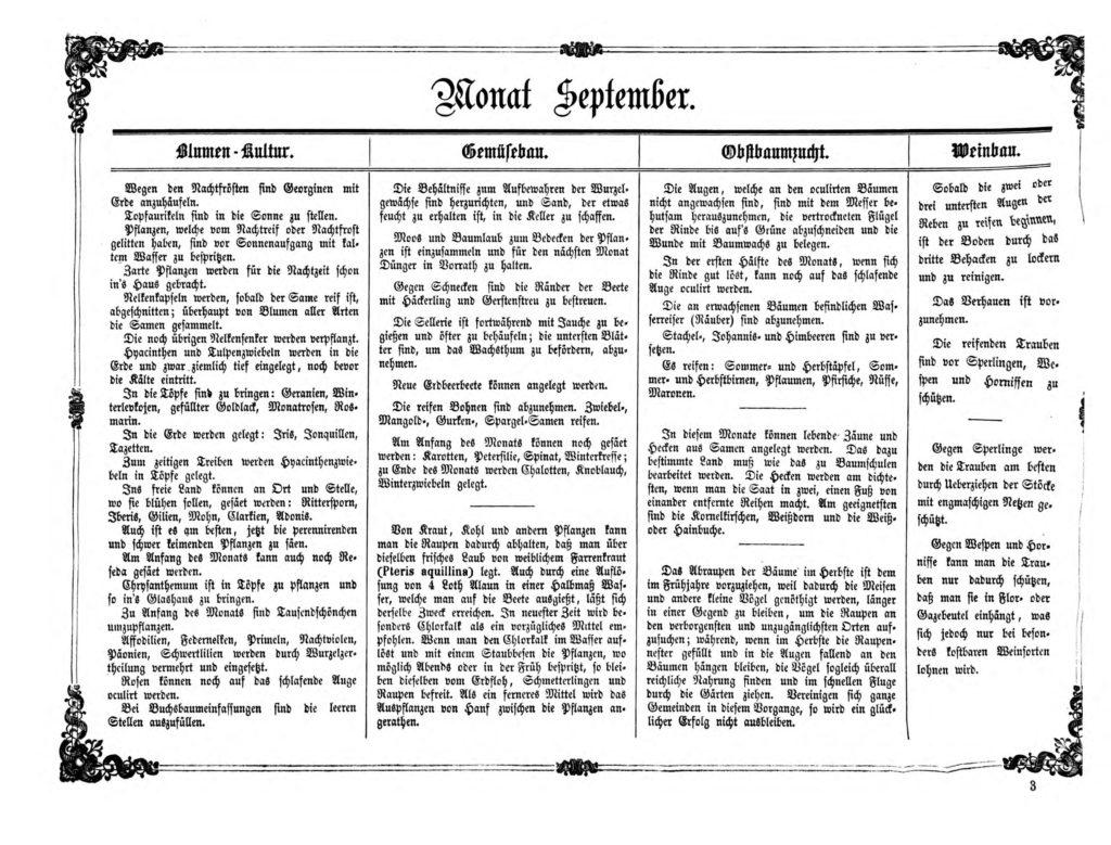 Gartenkalender für den Monat September von Carl Umlauff 1862 bestehend aus Blumenkultur, Gemüsebau, Obstbau und Weinbau