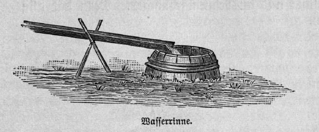 Das Bild zeigt ein Fass mit einer Wasserrinne. Dieses System dient zur Bewässerung eines Gartens.