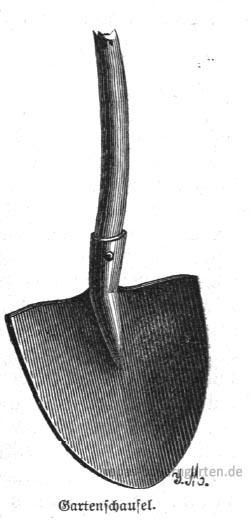 Das Bild zeigt eine Gartenschaufel, wie sie bei der Kompostherstellung verwendet werden kann.