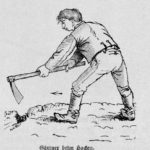 Das Bild zeigt einen Gärtner beim Hacken. Die Abbildung stammt aus einem alten Gartenbuch.