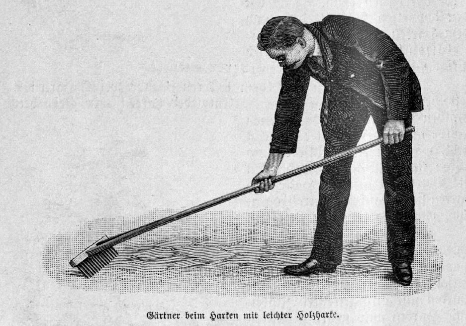 Das Bild zeigt einen Gärtner beim Beete Harken. Die Abbildung stammt aus einem alten Gartenbuch.
