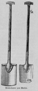 Das Bild zeigt zwei Spaten, mit denen Beete umgegraben werden können.