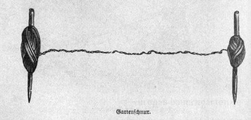 Das Bild zeigt eine typische Gartenschnur zum Einteilen von Beeten.