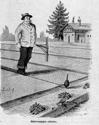 Das Bild zeigt einen Bauern beim Anlegen eines Gartenweeges.