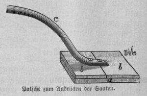 Das Bild zeigt eine Patsche zum Andrücken der Samen.