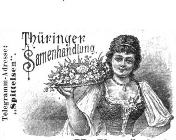 Ein Werbebild der Thüringer Samenhandlung aus dem Jahre 1890.