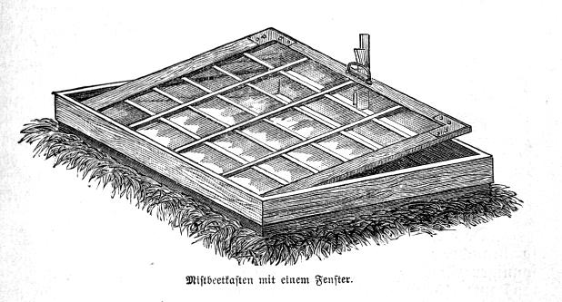 Das Bild zeigt einen selbst gebauten Mistbeetkasten für Selbstversorger